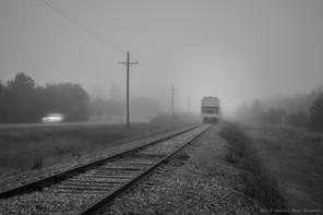 Car, train, fog