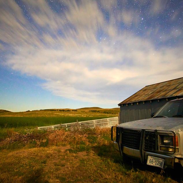 Night sky and pickup, Nebraska