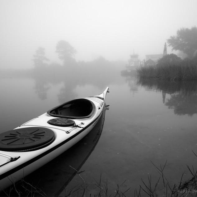 Kayak in fog - bw
