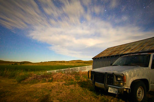 Night sky and pickup truck