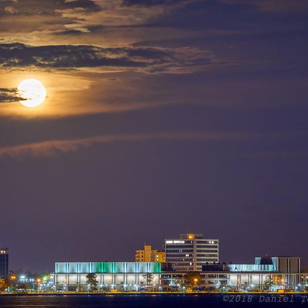 Moon above Lake Charles Civic Center