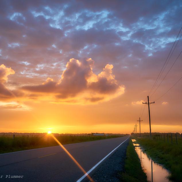 Sunrise on highway 397