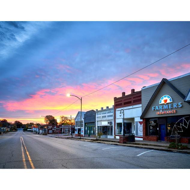 Downtown Hominy OK, dawn