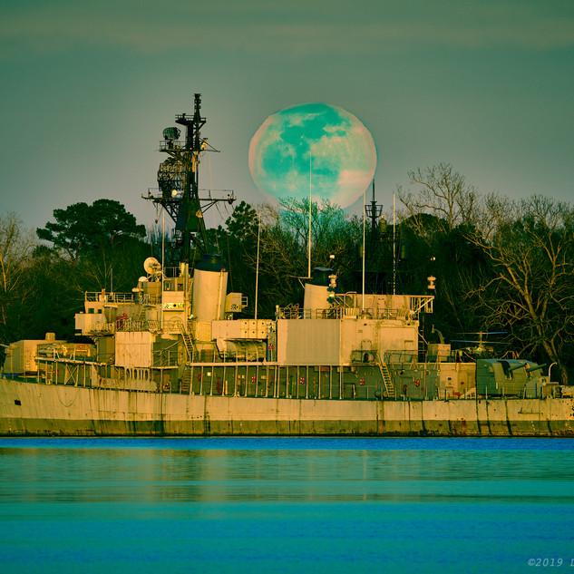 Moonrise above USS Orleck