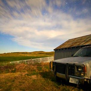 Night sky and pickup truck, Nebraska