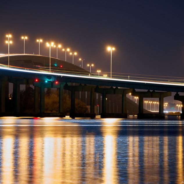 New lights on I-210 bridge
