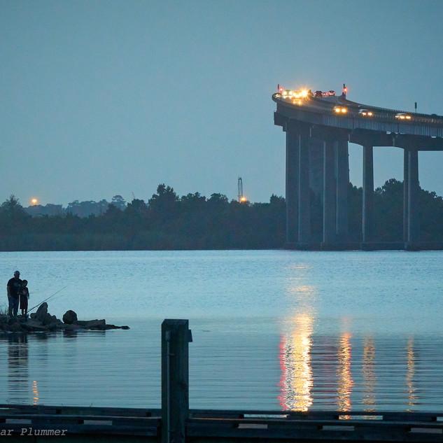 Night fishing, I-210 bridge