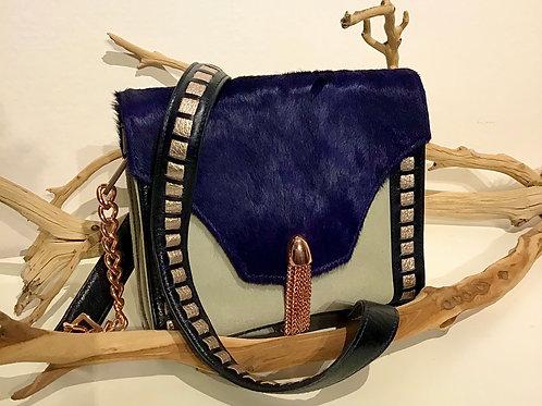 Nina leather Hand Bag Blue