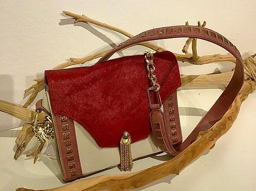 Nina Leather Hand Bag Red