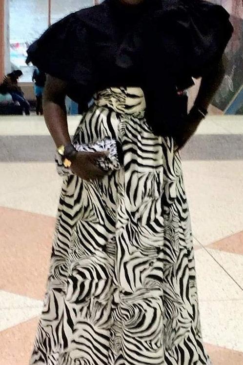 Zebra Flared Skirt