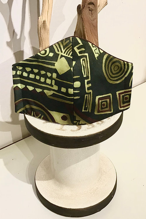 Green African Print Mask