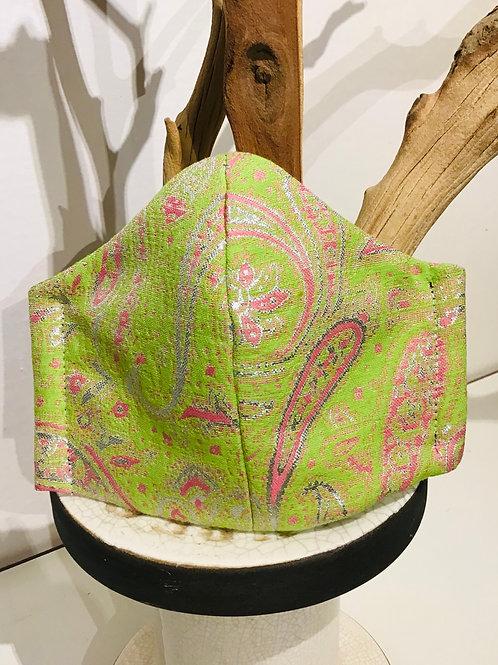 Pink & Green Paisley print Mask