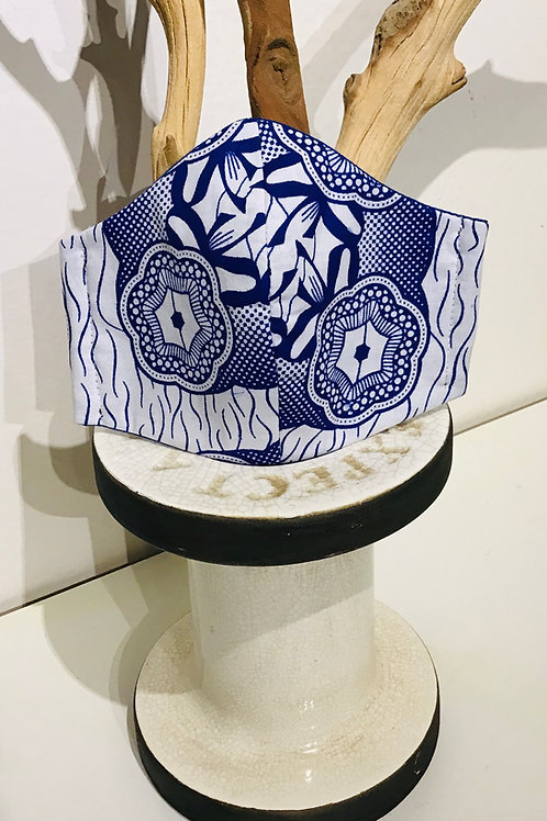 Blue White African Print Mask