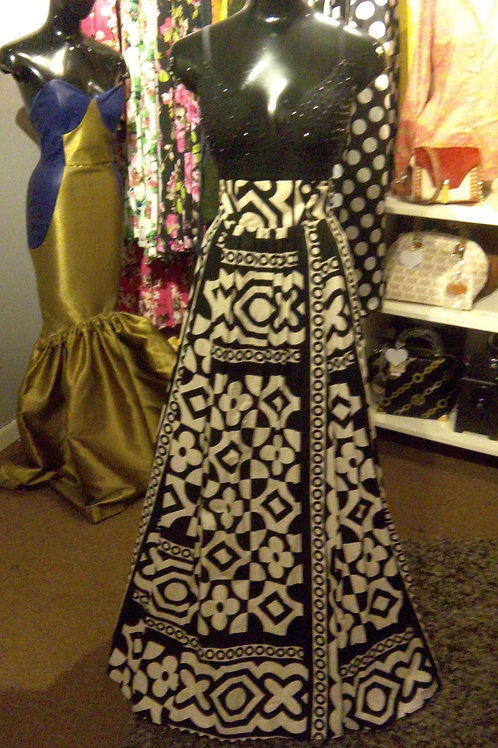 Black White African Flared Skirt