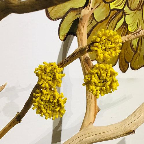 Seed Beaded Yellow Earrings