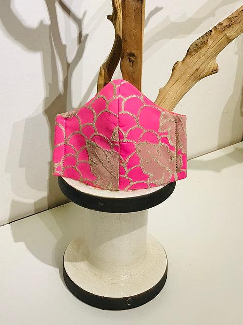 Poppy Pink Print Mask