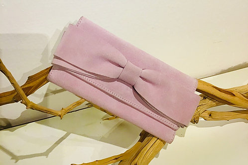 Bowed pink Leather Clutch