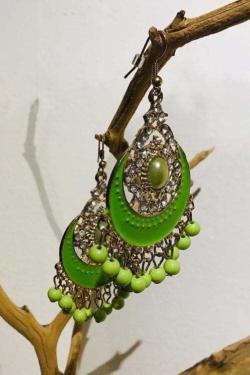 Beaded chandeliers green