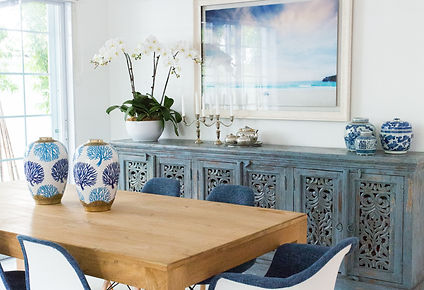 Stylish dining room with credenza