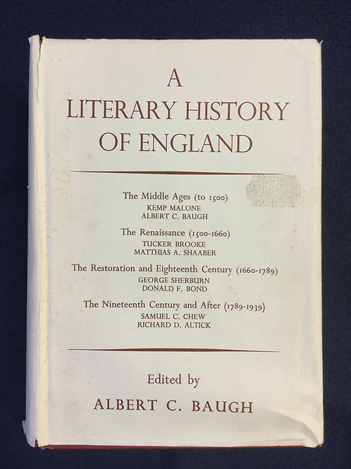 A Literary History of England Ed. Albert C. Baugh