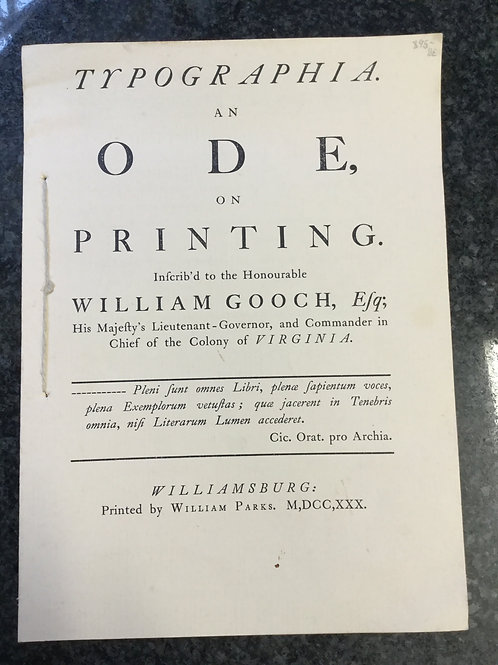 Typographia. An ode, on printing by William Gooch