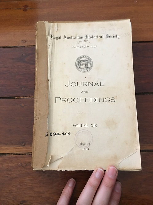 Australian Historical Society Journal of Proceedings Vol XIX
