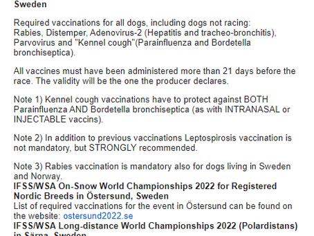 IMPFVORAUSSETZUNGEN für IFSS On-Snow World Championships