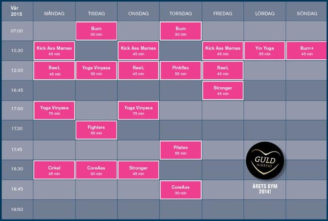 Vårens gruppträningsschema på Rosa Skrot!