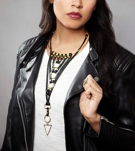 Chevron Leather Collar