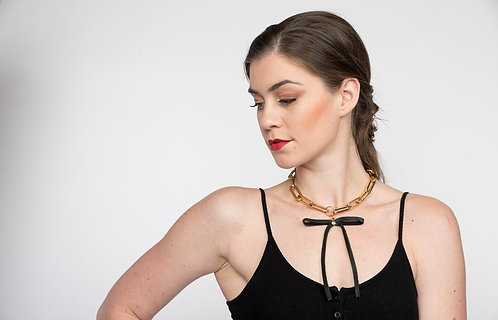 Leather Bow Chain Necklace