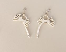 White Ribbon Earrings