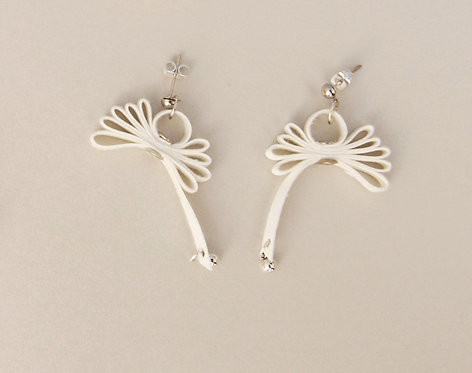 White Ribbon Earrings