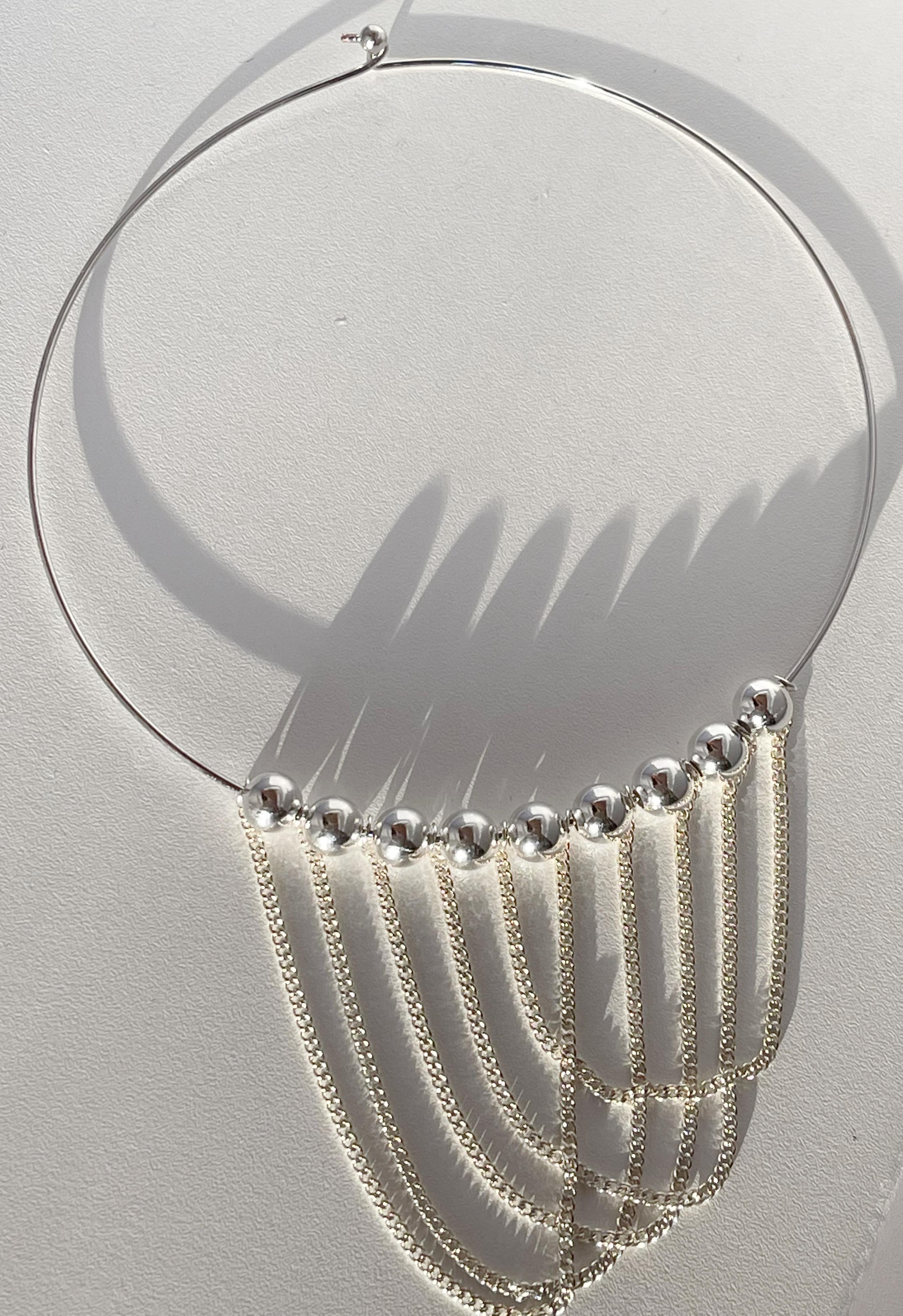 Silver Beaded Collar