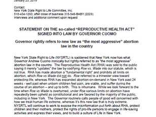 Statement on NYS' Reproductive Health Act
