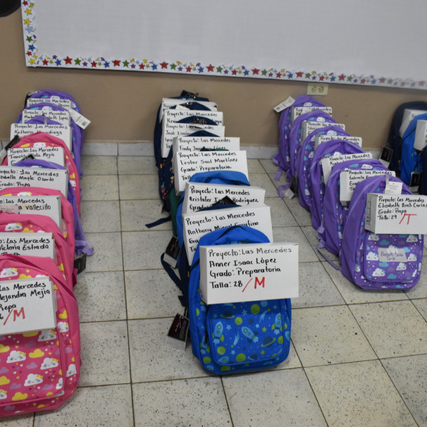 Backpacks ready to be delivered in Crucitas (2020)