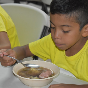 Student in Feb. 21 eats his lunch