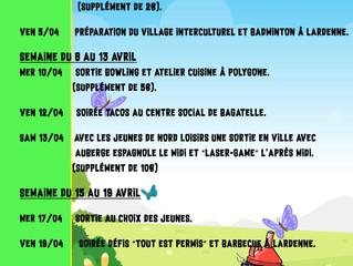 Accueil Jeunes: le programme d'avril