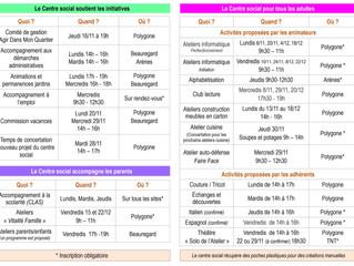CENTRE SOCIAL - programme du 6/11 au 22/12