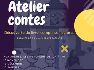 Atelier contes aux Arènes, pour les enfants de 0 à 6 ans et les parents. A partir du 13 novembre.