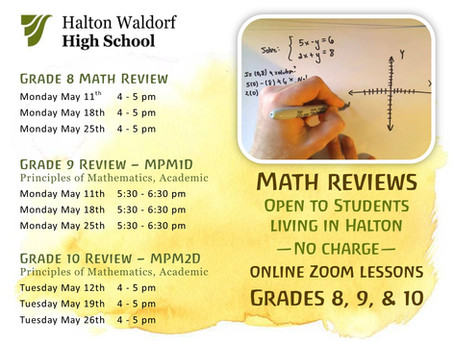 Math reviews being offered to Halton students