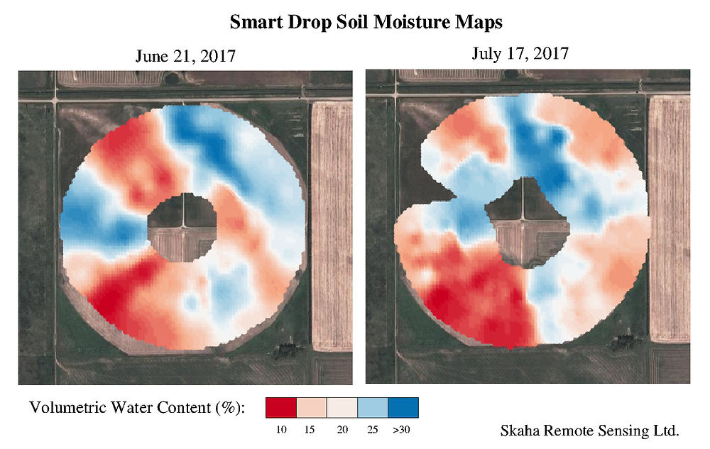 Comparison of soil moisture maps acquired at different months.
