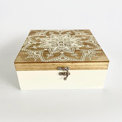 WOODEN MANDALA BOX - LARGE