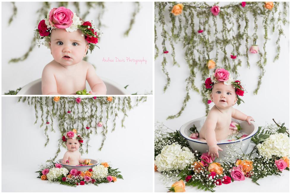 baby photography flowers milk bath Milestone mandeville covington photographer