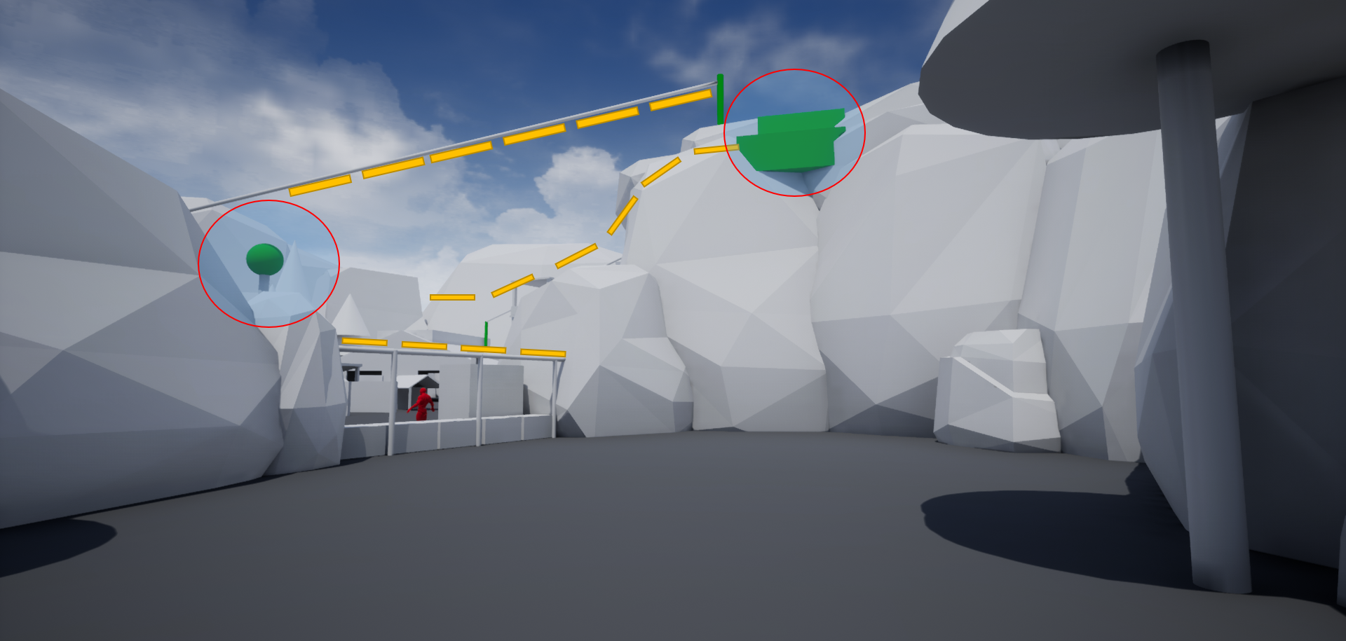 After climbing the wall, players eyes are directed to the flashing green light on the left. Indicating the position of the outpost