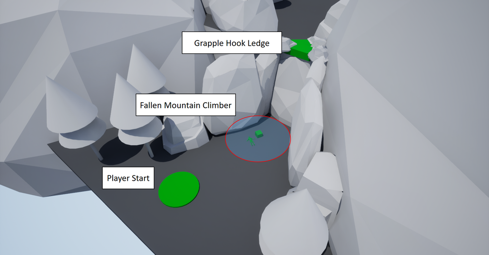 Players come across a fallen mountain climber. After picking up the grapple hook, players learn how to scale the mountain wall in a safe environment