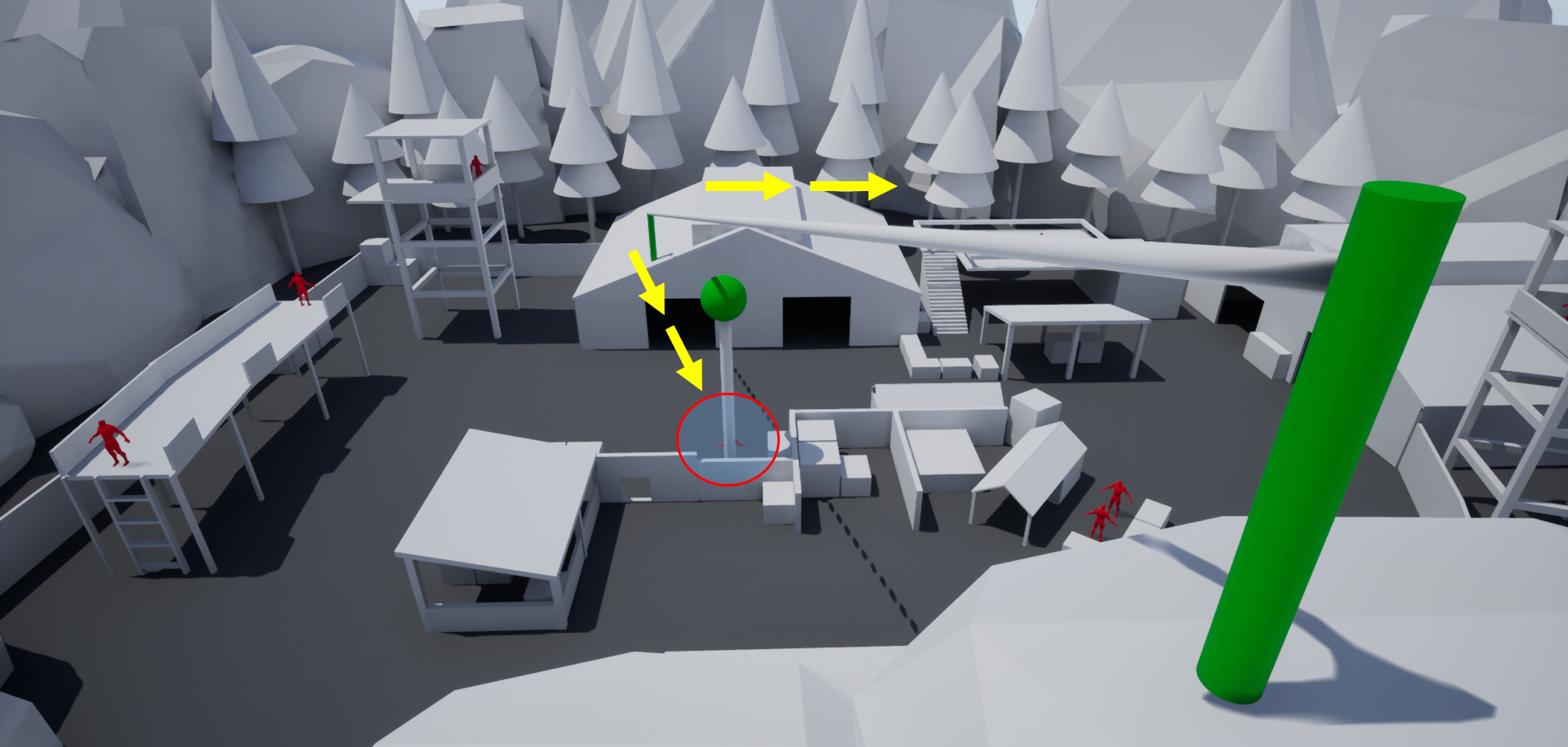 The left zipline offers quicker route to disabling the alarm system, but most likely results in being spotted by enemies