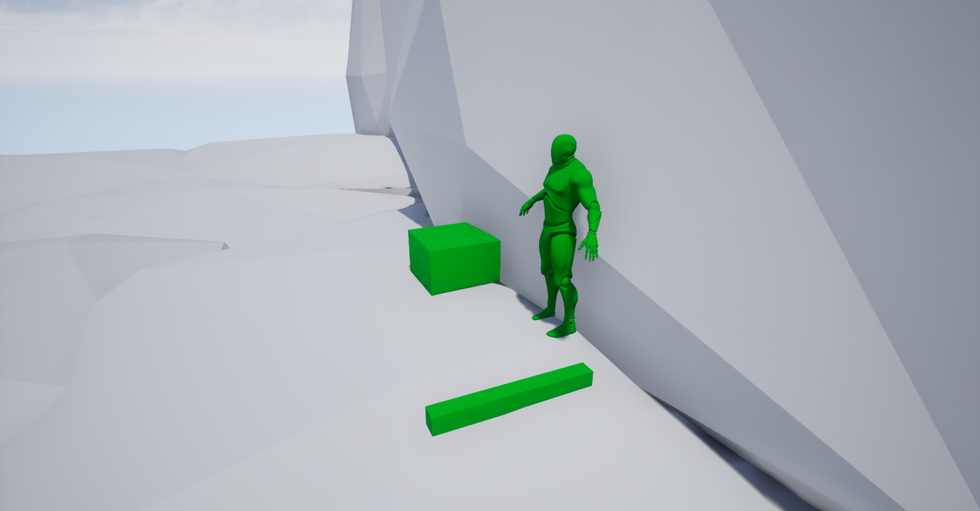 Once climbing the second wall, players then find a dead body with a weapon laying on the ground. Providing the player with a weapon and a sense of the danger to come.