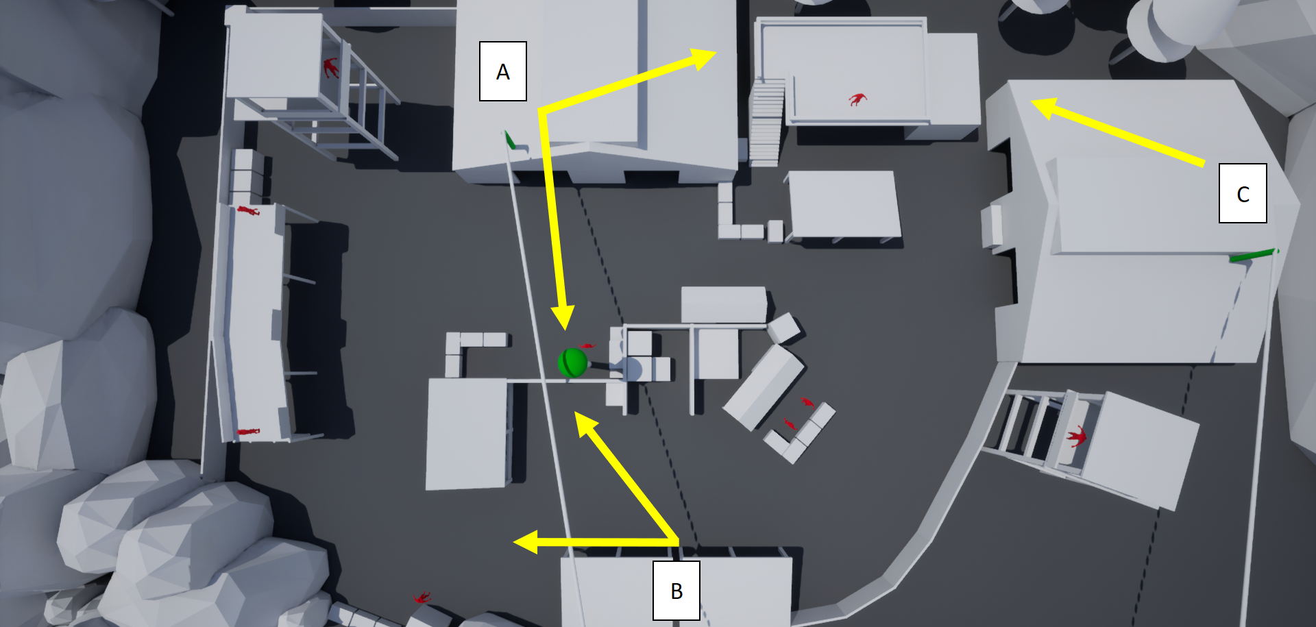 Main routes players will take based on their decided approach