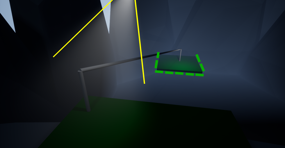 Whilst being chased by a bear, players spot a zipline which can be used to escape quickly. A god ray light is used here so players can quickly identify the point of exit without much thought