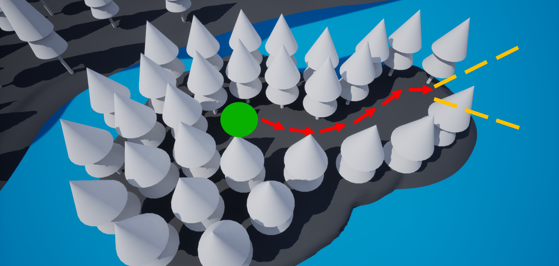Player spawns within a confined space, following a narrow path until an opening presents the location of their objective